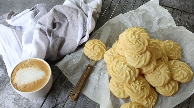 Vanilla Bean Shortbread served with a cup of coffee