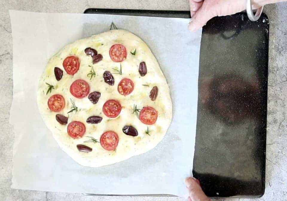 unbaked Tomato, Olive and Garlic Focaccia