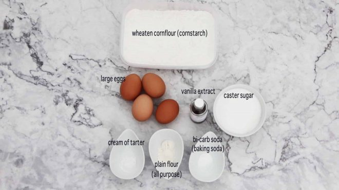 ingredients to make Vanilla Sponge Cake with Strawberries and Cream