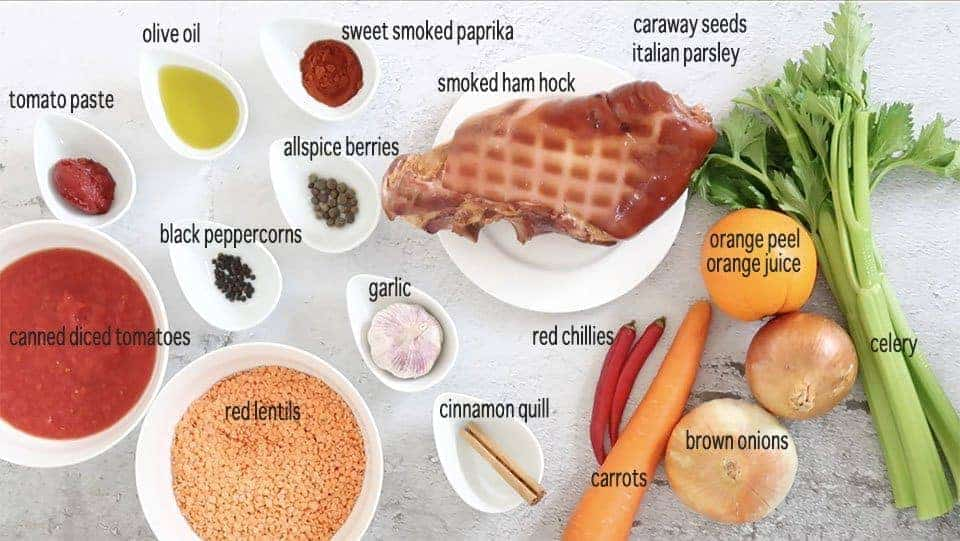 ingredients for Smoked Ham Hock and Red Lentil Soup