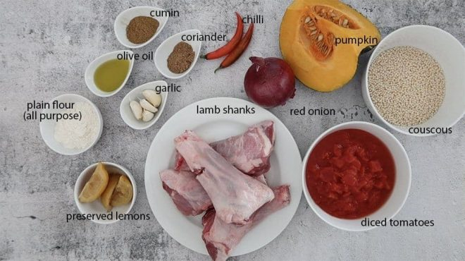 braised moroccan lamb shanks ingredients ready to prepare