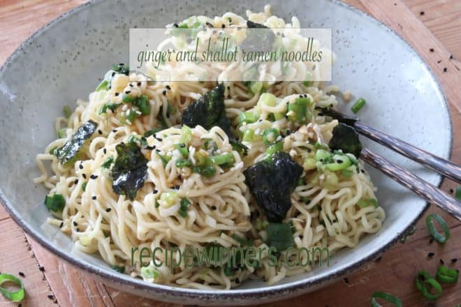 Ginger and Shallot/Scallion Ramen Noodles in a blue bowl with chopsticks
