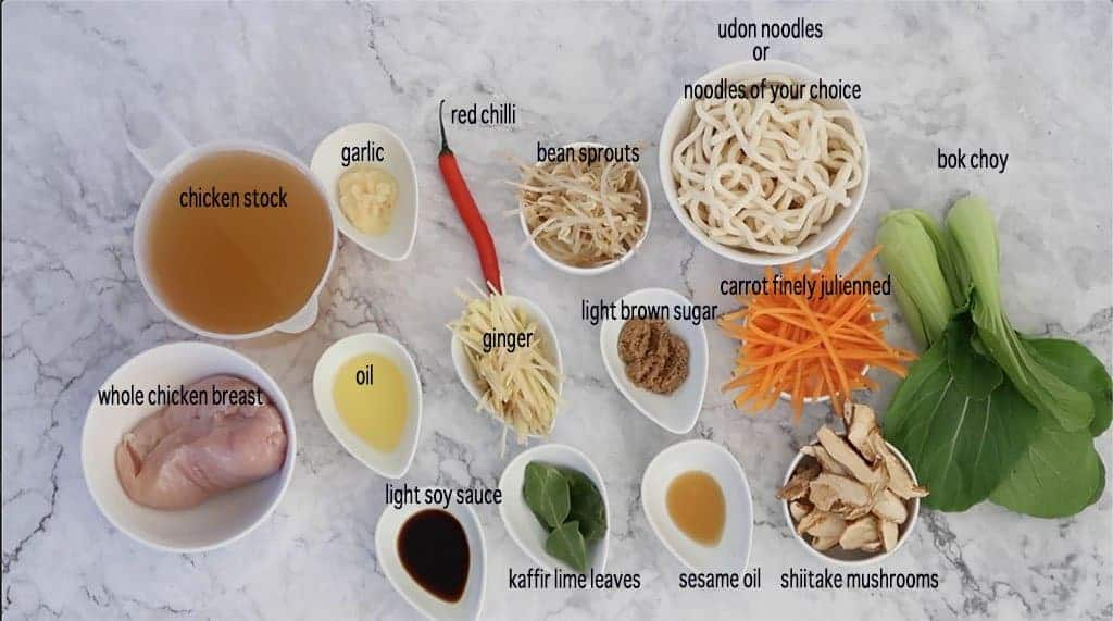 chinese chicken noodle soup ingredients ready to prepare