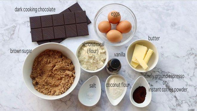 espresso fudge brownies ingredients on a marble bench