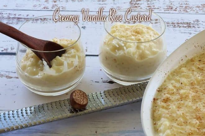 Creamy Vanilla Rice Custard in a glass bowl