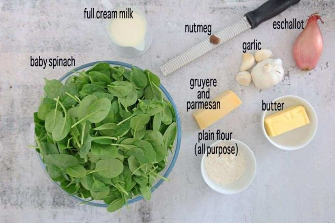 Ingredients to make Steakhouse Creamed Spinach