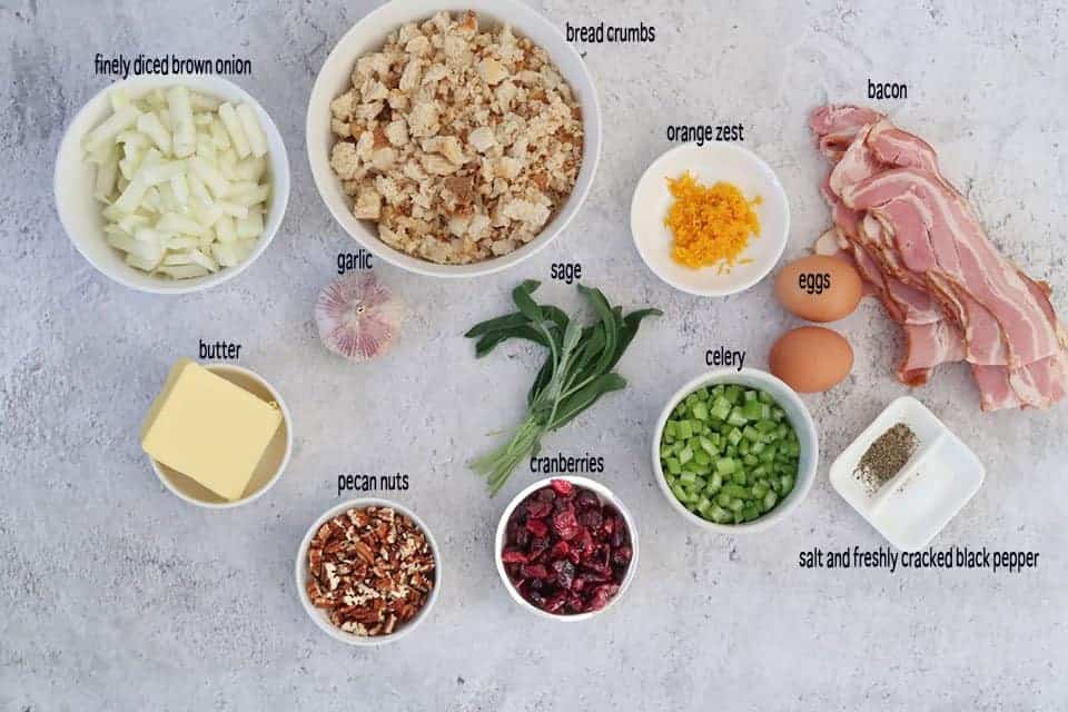 Ingredients to make Bacon and Cranberry Stuffing