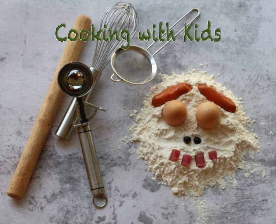 cooking with kids funny face on marble table made from flour