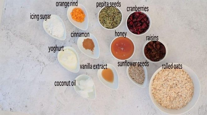 Ingredients to make Homemade Granola Bars