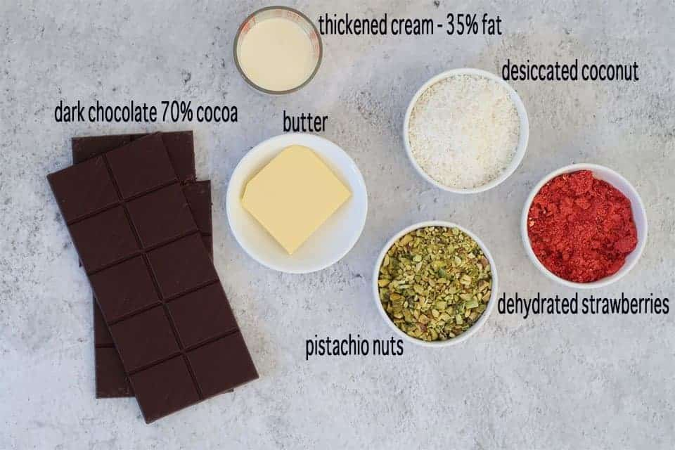 Ingredients to make Easy Chocolate Truffles