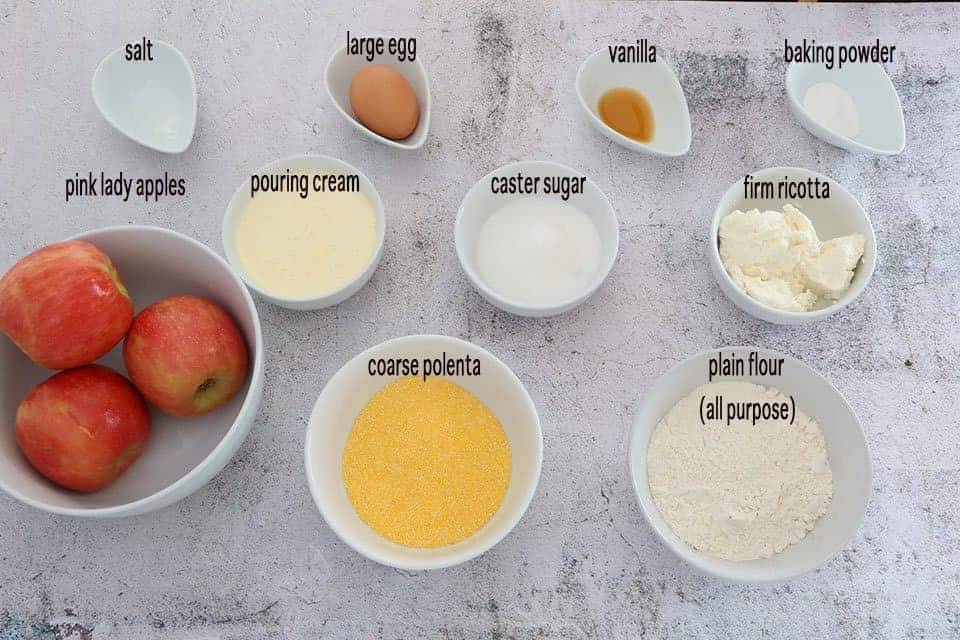 Ingredients to make Polenta Apple and Ricotta Fritters