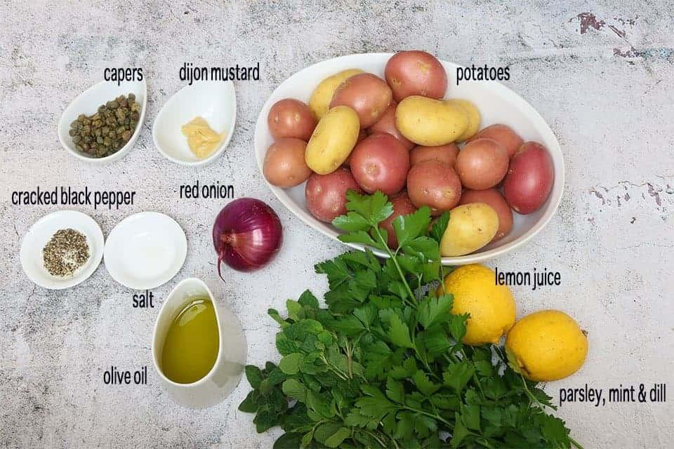 ingredients to make No-Mayo Potato Salad