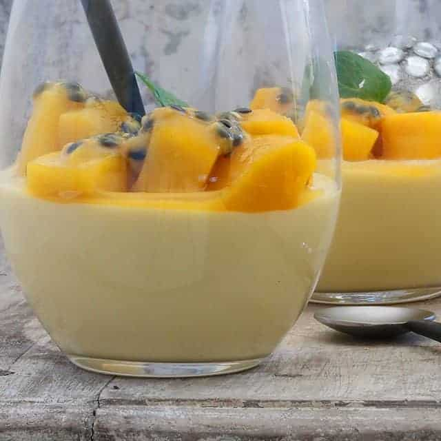 mango mousse with passionfruit