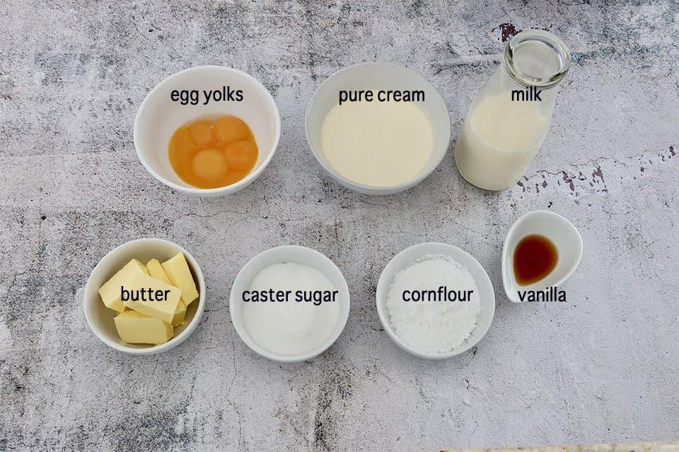 Ingredients to make Creme Patissiere