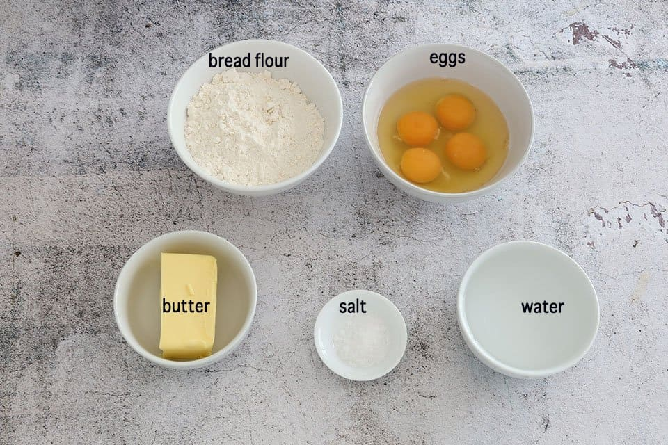ingredients to make the The Definitive Guide to Making Choux Pastry