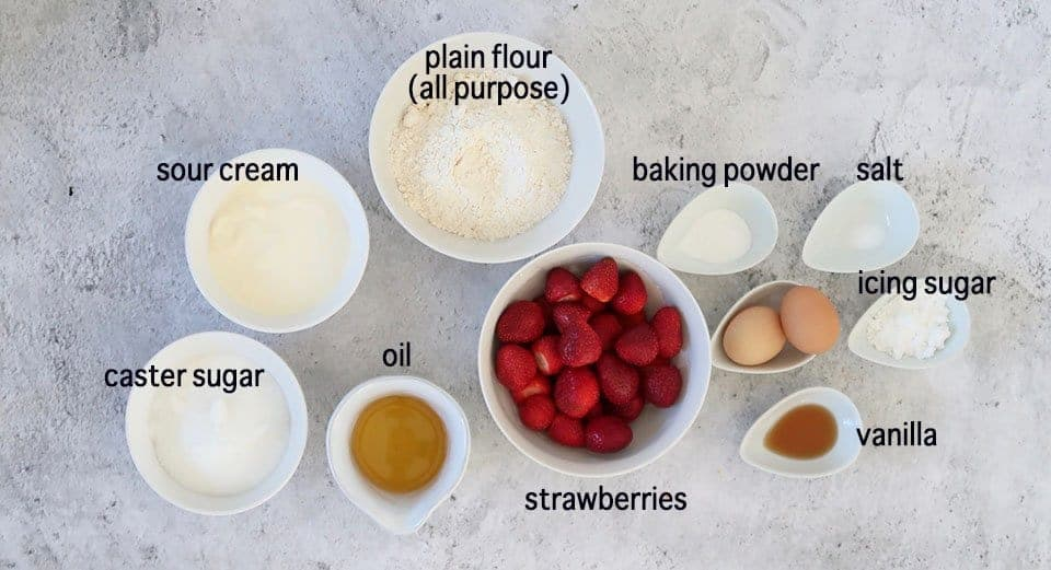Ingredients to make Strawberry Sour Cream Cake