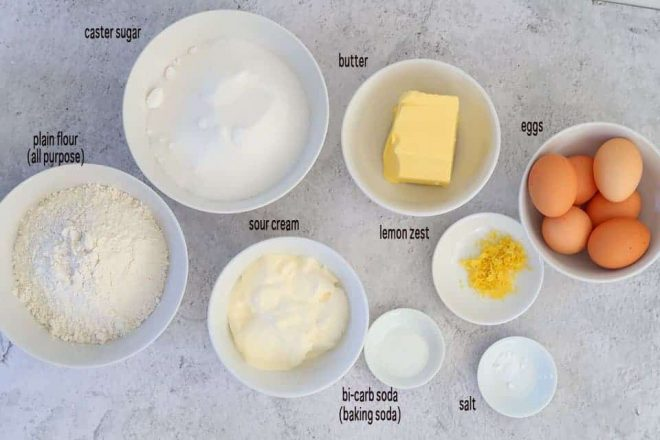 ingredients to make moist lemon sour cream cake