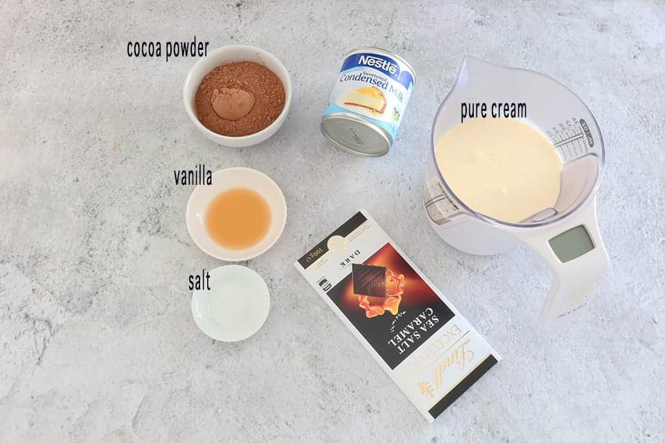 Ingredients to make No Churn Chocolate Chunk Ice Cream